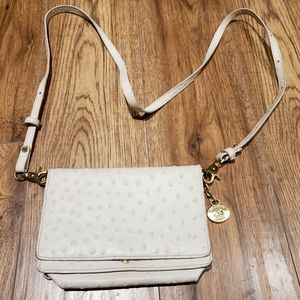 Brahmin white ostrich leather crossbody